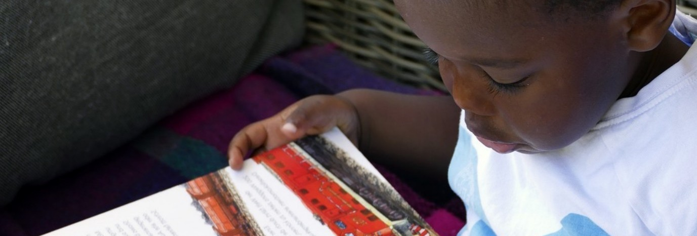young boy reads book