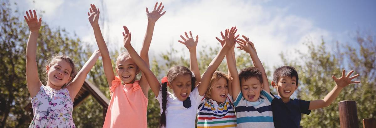 Children hands in the air