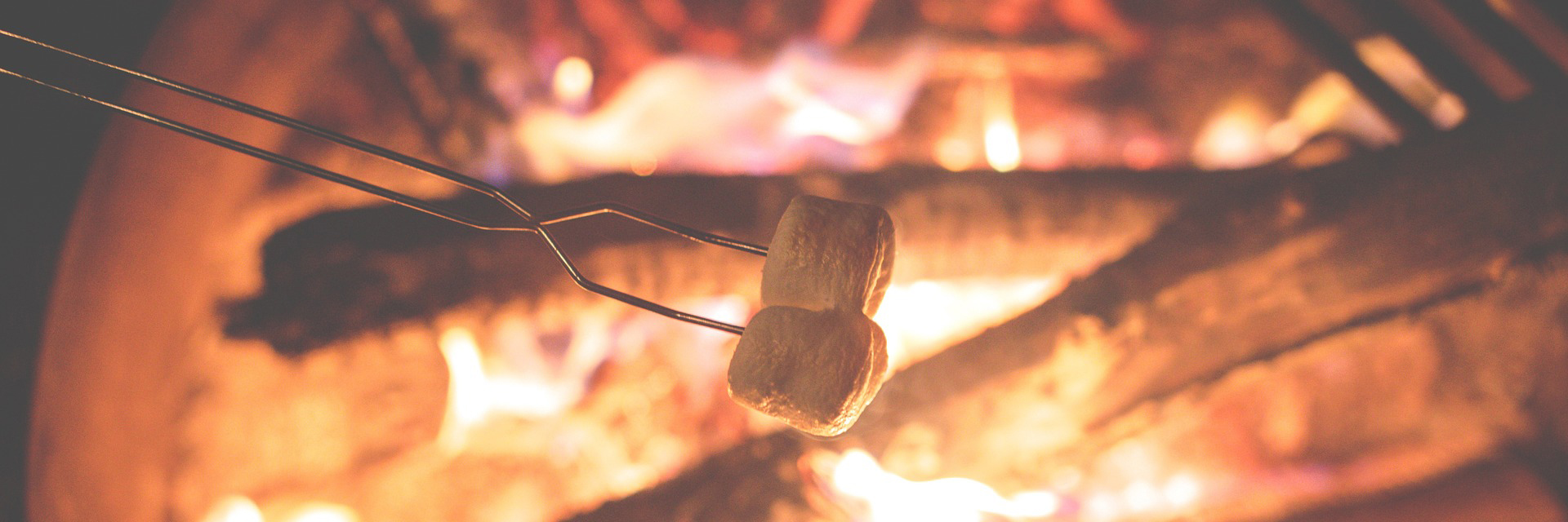 toasting marshmallows over flames