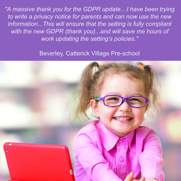 Praise for Alliance support of early years settings and GDPR