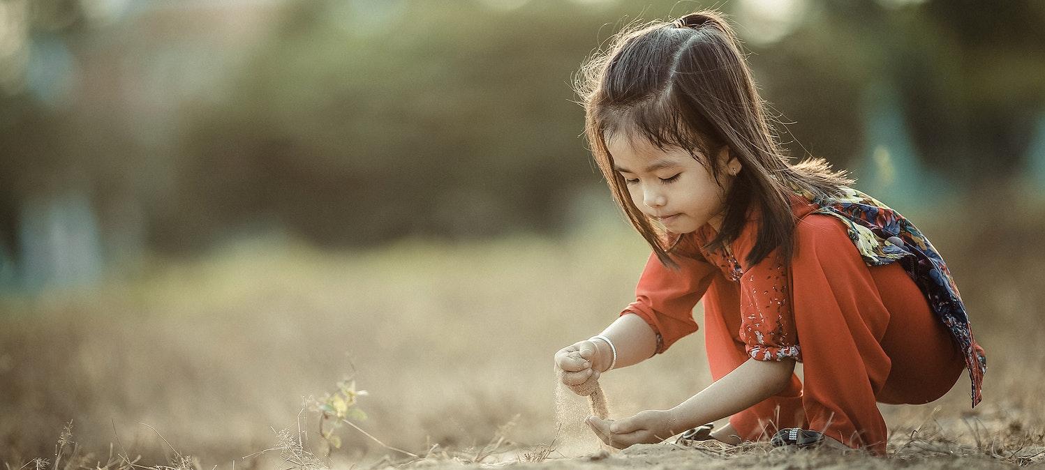 Girl and sand