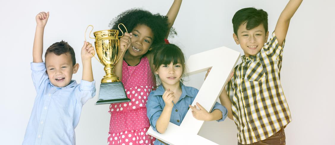Children with trophy