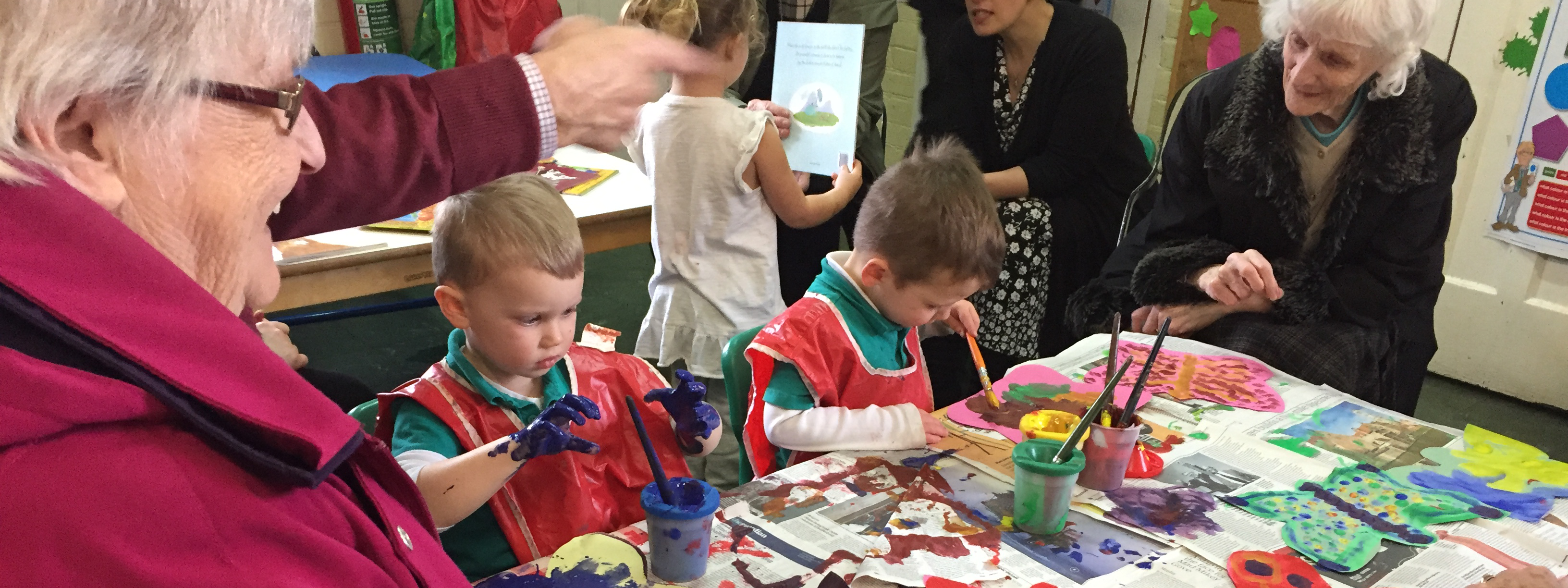 Forest Row Community Pre-School enjoying activities with their local elderly Thursday club