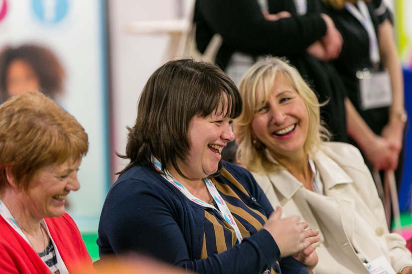 delegates laughing and enjoying Childcare Expo 2018