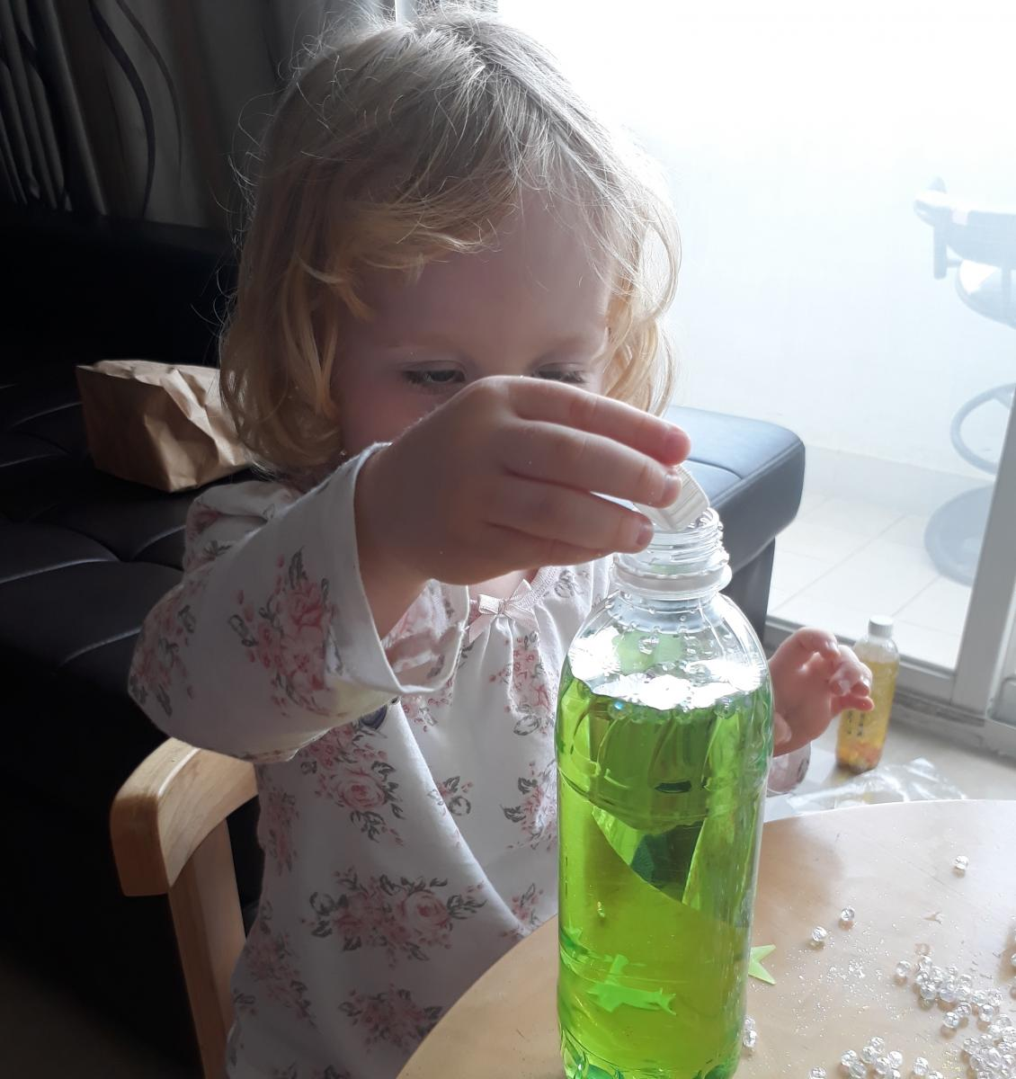 Jessica's daughter exploring a sensory activity