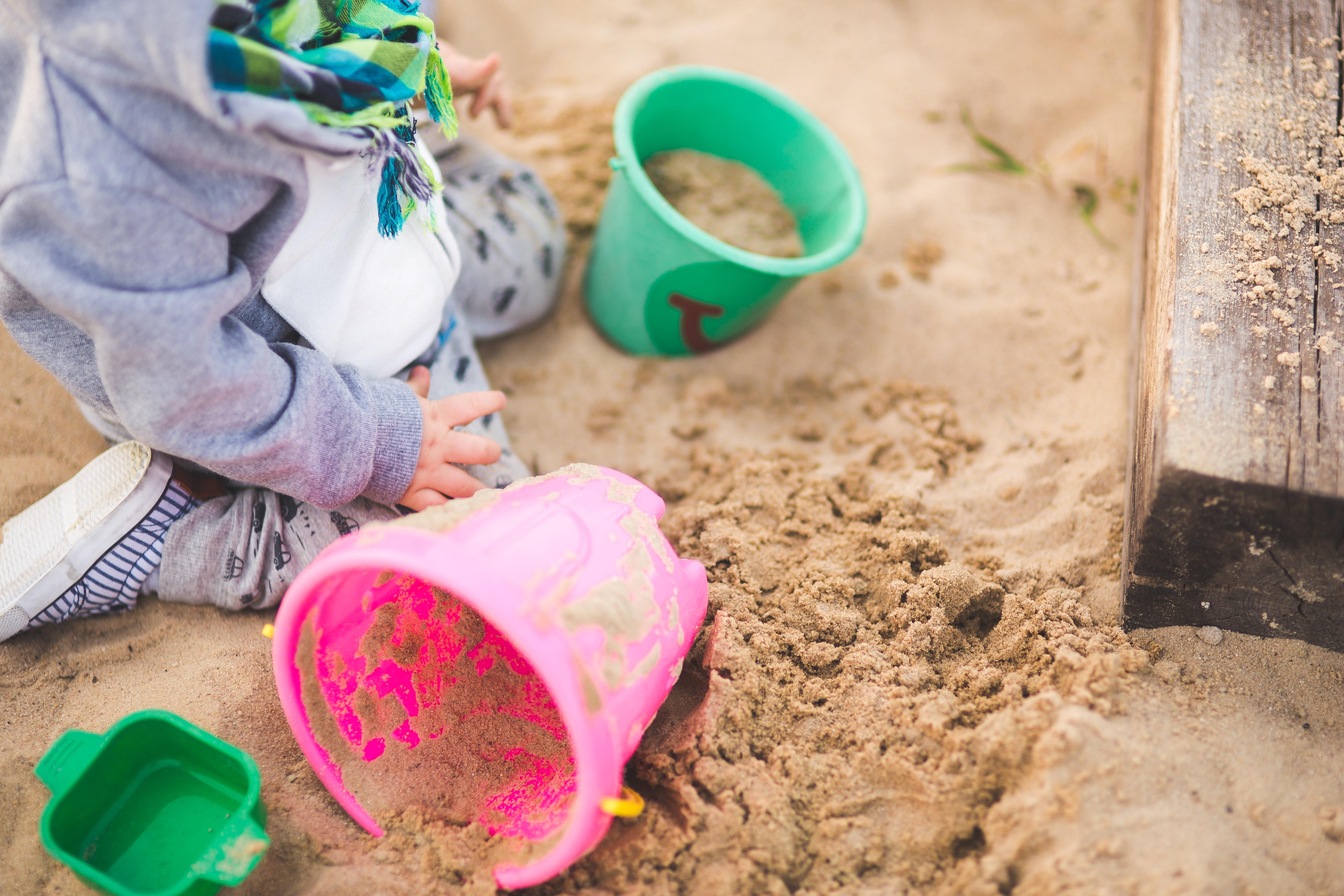 baby boy sand bucket