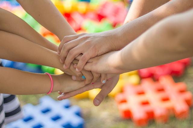 Children playing childminders