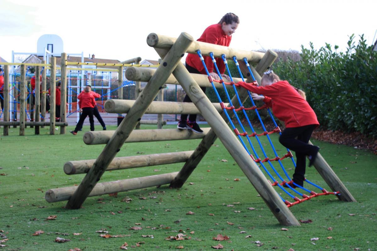 children playing, climbing outside