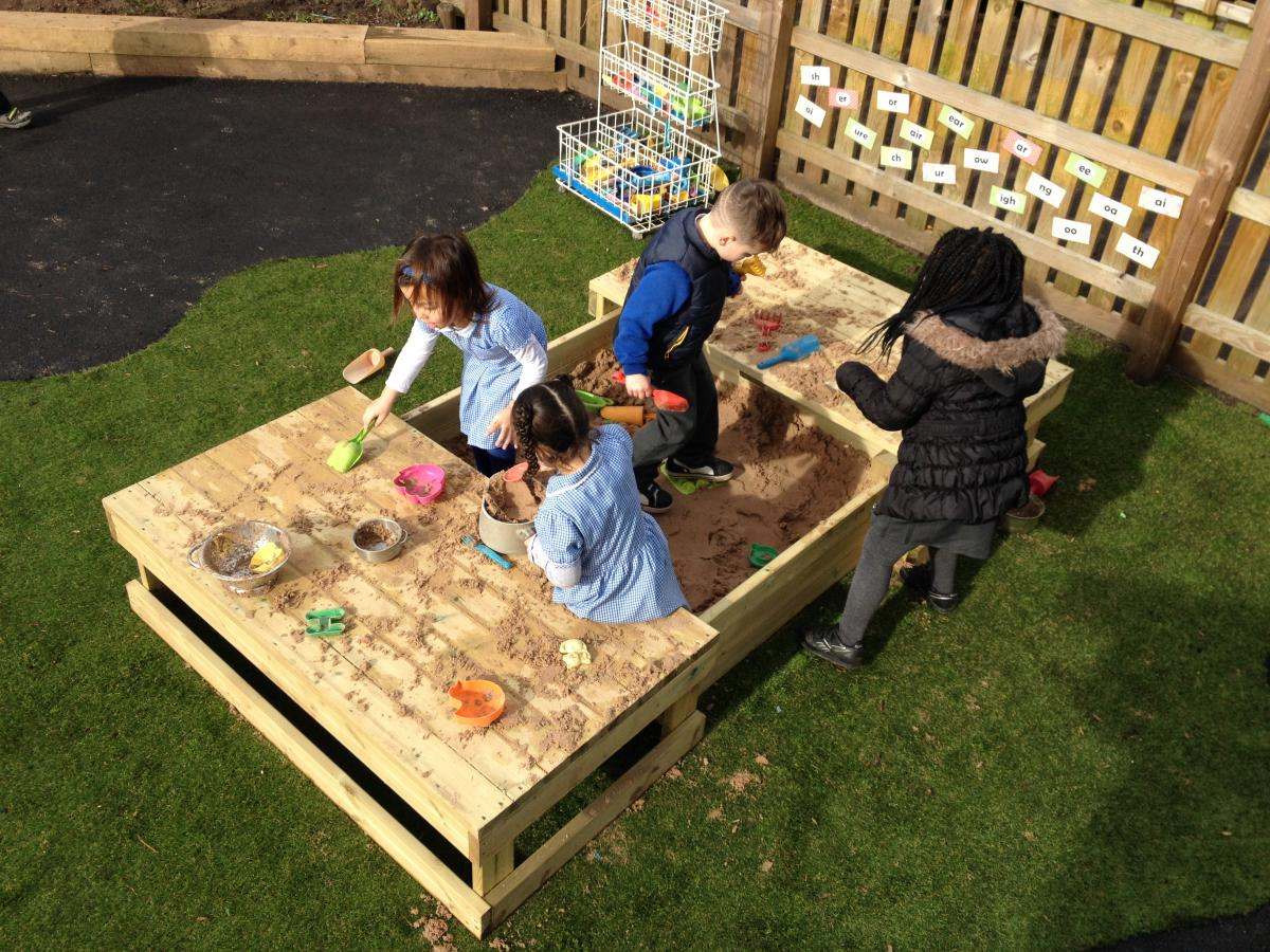 children enjoy playing in a sandbox