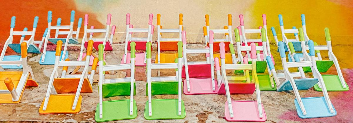 Rainbow chairs upside down