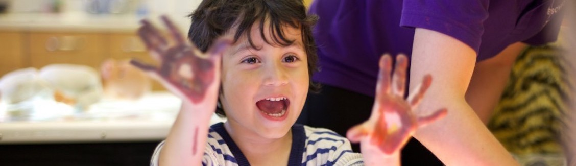 Child at messy play