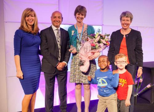 From left to right: awards host Kate Garraway, Alliance chief executive Neil Leitch, Volunteer of the Year 2016 Nessa Rackham, and the Chair of our Trustee board, Sophie Ross