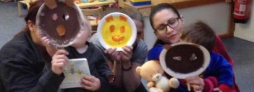 making bear masks for World Book Day